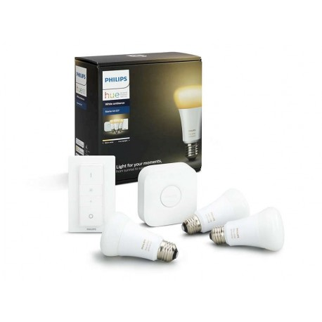 Philips Hue Starter Kit cu interupator White Ambiance 3xE27 A60 - 8718696728925